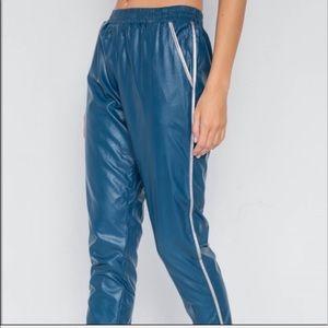 Pants - NWT Vegan Leather Teal Blue Mid Rise Pants